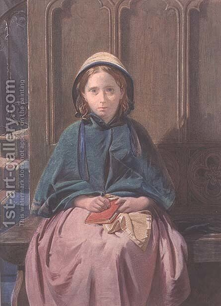 Portrait of a Girl Reading in a Church Pew, 1862 by David Roberts - Reproduction Oil Painting