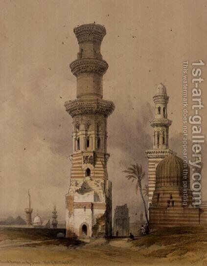 Ruined Mosques in the Desert, west of the Citadel, Cairo, from Egypt and Nubia, Vol.3 by David Roberts - Reproduction Oil Painting