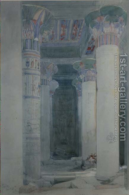 Under the Grand Portico, Philae by David Roberts - Reproduction Oil Painting