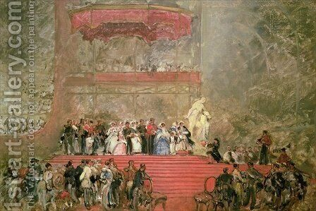 The Opening of Crystal Palace for the Great Exhibition, 1851 by David Roberts - Reproduction Oil Painting
