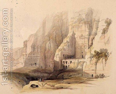 Excavated Mansions of Petra, March 7th 1839, plate 103 from Volume III of The Holy Land, engraved by Louis Haghe 1806-85 pub. 1849 by David Roberts - Reproduction Oil Painting