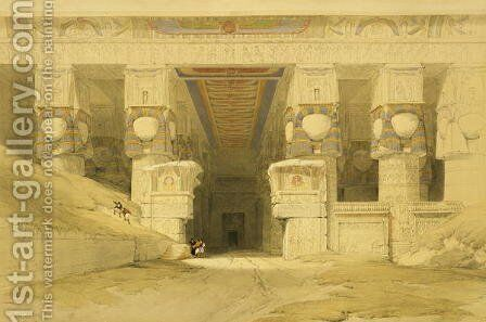 Facade of the Temple of Hathor, Dendarah, from Egypt and Nubia, Vol.1 by David Roberts - Reproduction Oil Painting
