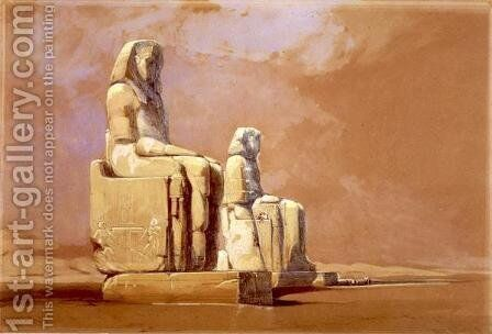Colossi, Thebes, 1838 by David Roberts - Reproduction Oil Painting