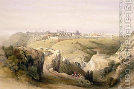Jerusalem from the Mount of Olives, April 8th 1839, plate 6 from Volume I of The Holy Land engraved by Louis Haghe 1806-85 pub. 1842 by David Roberts - Reproduction Oil Painting