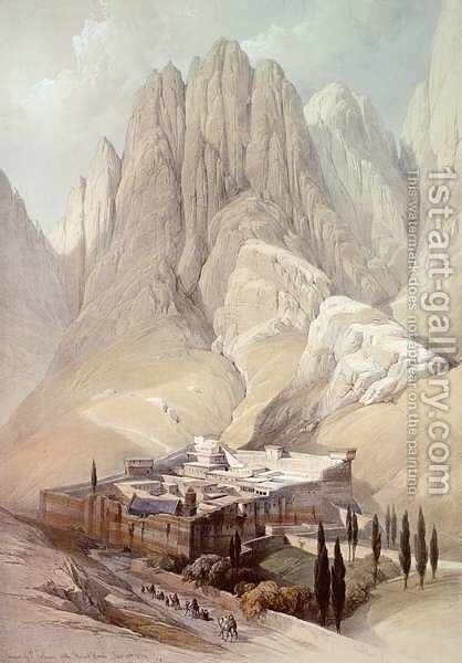 Convent of St.Catherine with Mount Horeb, February 19th 1839, plate 118 from Volume III of The Holy Land, engraved by Louis Haghe 1806-85 pub.1849 by David Roberts - Reproduction Oil Painting