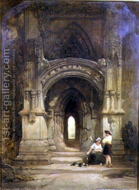 Porch to Roslyn Chapel, 1859 by David Roberts - Reproduction Oil Painting