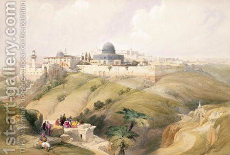 Jerusalem, April 9th 1839, plate 16 from Volume I of The Holy Land, engraved by Louis Haghe 1806-85 pub. 1842 by David Roberts - Reproduction Oil Painting
