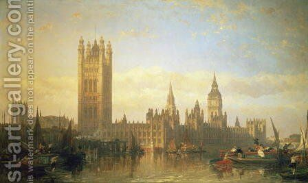 New Palace of Westminster from the River Thames by David Roberts - Reproduction Oil Painting