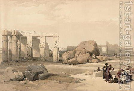 Fragments of the Great Colossus at The Memnonium, Thebes, from Egypt and Nubia, Vol.1 by David Roberts - Reproduction Oil Painting