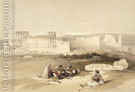 Ruins of Baalbec, May 5th 1839, plate 77 from Volume II of The Holy Land, engraved by Louis Haghe 1806-85 pub. 1843 by David Roberts - Reproduction Oil Painting