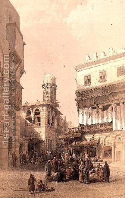 Bazaar of the Coppersmiths, Cairo, from Egypt and Nubia, Vol.3 by David Roberts - Reproduction Oil Painting