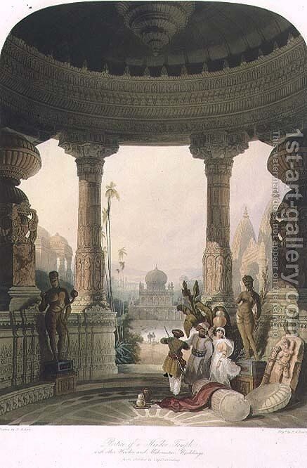 Portico of a Hindoo Temple, with other Hindoo and Mahomedan Buildings, from Volume II of Scenery, Costumes and Architecture of India, drawn by David Roberts 1796-1864 engraved by R.G. Reeve fl.1811-37 1830 by David Roberts - Reproduction Oil Painting
