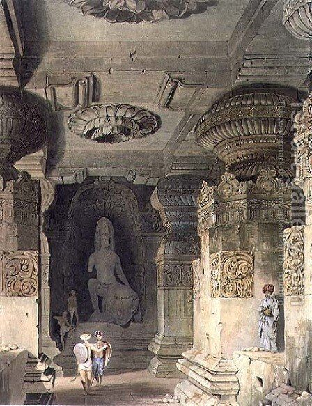 Interior of the Cave Temple of Indra Subba at Ellora, from Volume II of Scenery, Costumes and Architecture of India, drawn by David Roberts (1796-1864) etched by Thomas Kearnan fl.1821-50 and engraved by Henry Pyall 1795-1833 pub. by Smith, Elder an by David Roberts - Reproduction Oil Painting