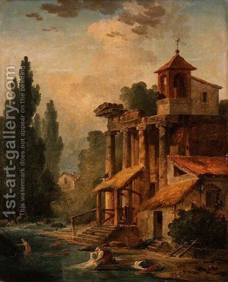 A Caprice with a Hermitage, 1796 by Hubert Robert - Reproduction Oil Painting