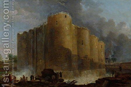 Demolition of the Bastille, 1789 by Hubert Robert - Reproduction Oil Painting