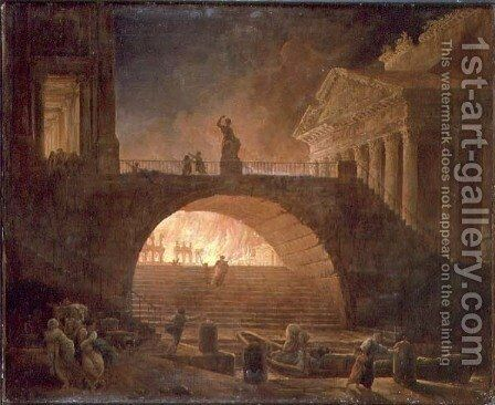 The Fire of Rome, 18 July 64 AD by Hubert Robert - Reproduction Oil Painting