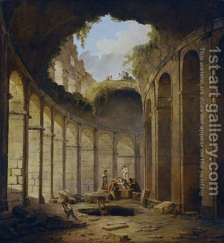 The Colosseum, Rome by Hubert Robert - Reproduction Oil Painting