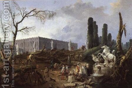 Tree Felling in the Garden of Versailles around the Baths of Apollo, 1775-77 by Hubert Robert - Reproduction Oil Painting