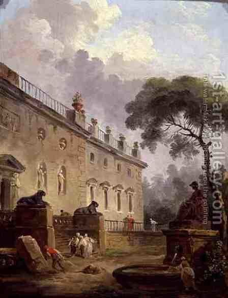 Terrace of the Villa Madama by Hubert Robert - Reproduction Oil Painting
