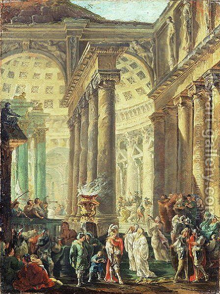 Capriccio of a Roman temple with Alexander the Great entering in triumph, 1755-60 by Hubert Robert - Reproduction Oil Painting