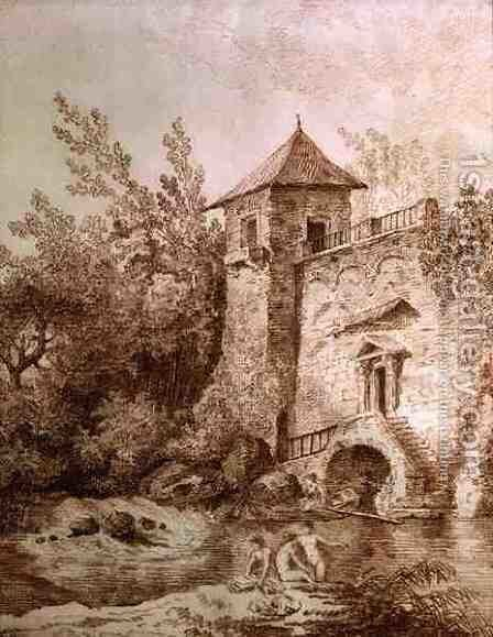 The Bathers by Hubert Robert - Reproduction Oil Painting