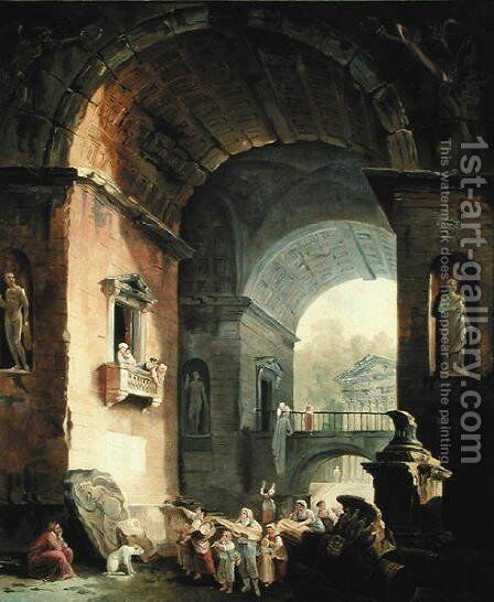The Musicians by Hubert Robert - Reproduction Oil Painting