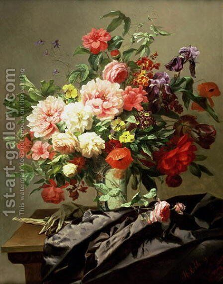 Peonies, Poppies and Roses, 1849 by Henri Robbe - Reproduction Oil Painting