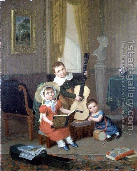 The Trio, 1829 by Edward Villiers Rippingille - Reproduction Oil Painting