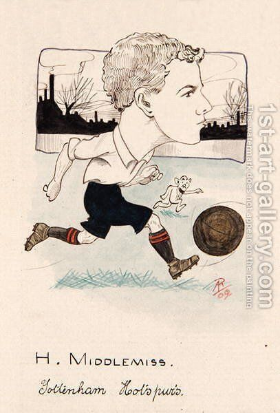 Bert Middlemiss, Tottenham Hotspur, drawing for a set of cigarette cards, 1907 by Rip - Reproduction Oil Painting