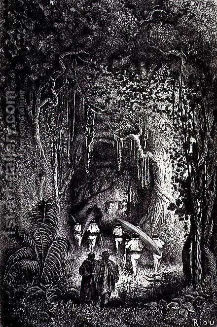 Through the Forest to the Palta Lake, engraved by Bertrand, page 209 from Vol. 2 of Journey Across South America by P. Marcoy, 1873 by Edouard Riou - Reproduction Oil Painting
