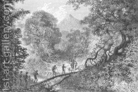 Crossing a Stream along a Fallen Tree, engraved by C. Laplante, page 79 from Voyages in South America by J. Crevaux, 1883 by Edouard Riou - Reproduction Oil Painting