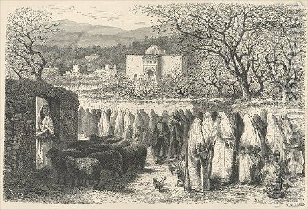 Marabout and Procession: Tlemcen, engraved by Henri Theophile Hildibrand 1824-97 by Edouard Riou - Reproduction Oil Painting
