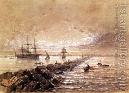 The Suez Canal, from a souvenir album commemorating the Voyage of Empress Eugenie 1827-1920 at the Inauguration in 1869 by Edouard Riou - Reproduction Oil Painting