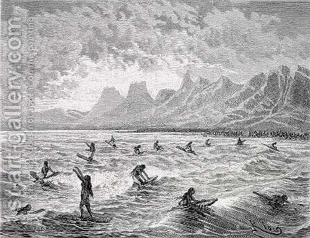 Hawaiian Games, illustration from Le Tour du Monde, 1872 by Edouard Riou - Reproduction Oil Painting