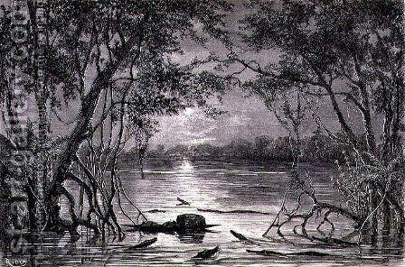 Moonlight Effect on the Lake Juteca, page 457 from Vol. 2 of Journey Across South America by P. Marcoy, 1873 by Edouard Riou - Reproduction Oil Painting