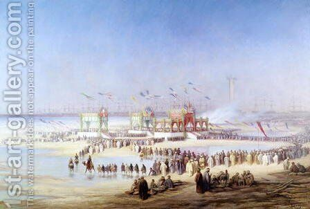 The Inauguration of the Suez Canal by the Empress Eugenie 1826-1920 17th November 1869 by Edouard Riou - Reproduction Oil Painting