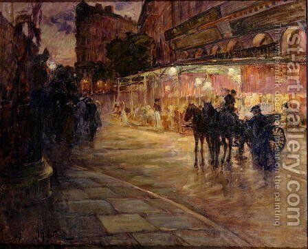 Paris street scene by night by Alexandre Rigotard - Reproduction Oil Painting