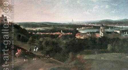 View across Greenwich Park towards London, Painted for Louis XV in Paris by Jean Rigaud - Reproduction Oil Painting