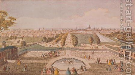 View of St. Jamess Park from Buckingham Palace by Jacques Rigaud - Reproduction Oil Painting