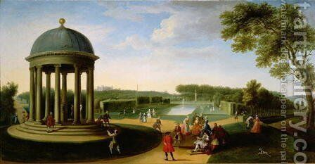The Queens Theatre from the Rotunda, Stowe House, Bucks, with Lord Cobham and Charles Bridgeman by Jacques Rigaud - Reproduction Oil Painting