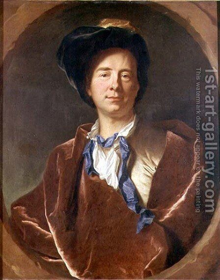 Portrait of Bernard le Bovier de Fontenelle 1657-1757 by Hyacinthe Rigaud - Reproduction Oil Painting