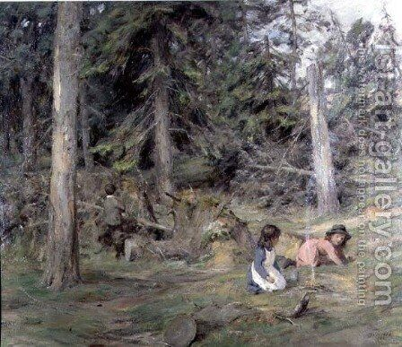 Around a Camp Fire, 1899 by James Riddel - Reproduction Oil Painting