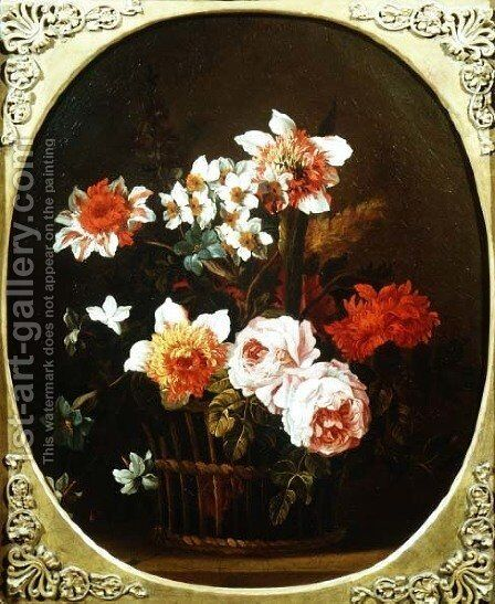 Still Life of Flowers in a Basket, 18th century by Nicholas Ricoeur - Reproduction Oil Painting