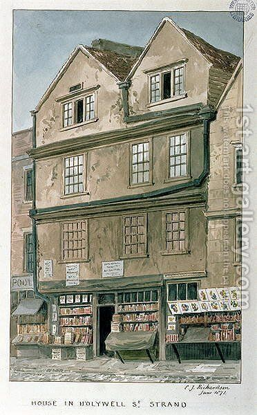 House in Holywell Street, the Strand, 1871 by Charles James Richardson - Reproduction Oil Painting