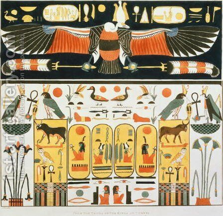 Mural from the Tombs of the Kings of Thebes, discovered by G. Belzoni, plate 2 from Plates Illustrative of the Researches in Egypt and Nubia, engraved by Charles Hullmandel 1789-1850 1820-22 by (after) Ricci, J. - Reproduction Oil Painting