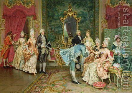 The Reception by Arturo Ricci - Reproduction Oil Painting