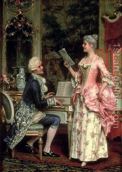 The Singing Lesson by Arturo Ricci - Reproduction Oil Painting