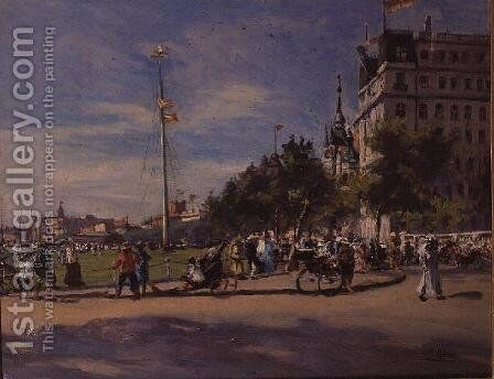 Deauville by Emmanuel Ribera - Reproduction Oil Painting