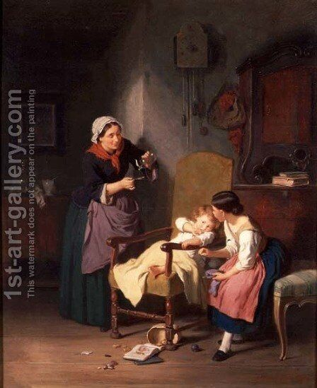 The little patient by Hanno Rhomberg - Reproduction Oil Painting