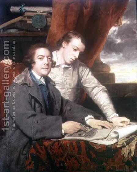 Portrait of James Paine 1717-89 architect, and his son James, 1764 by Sir Joshua Reynolds - Reproduction Oil Painting